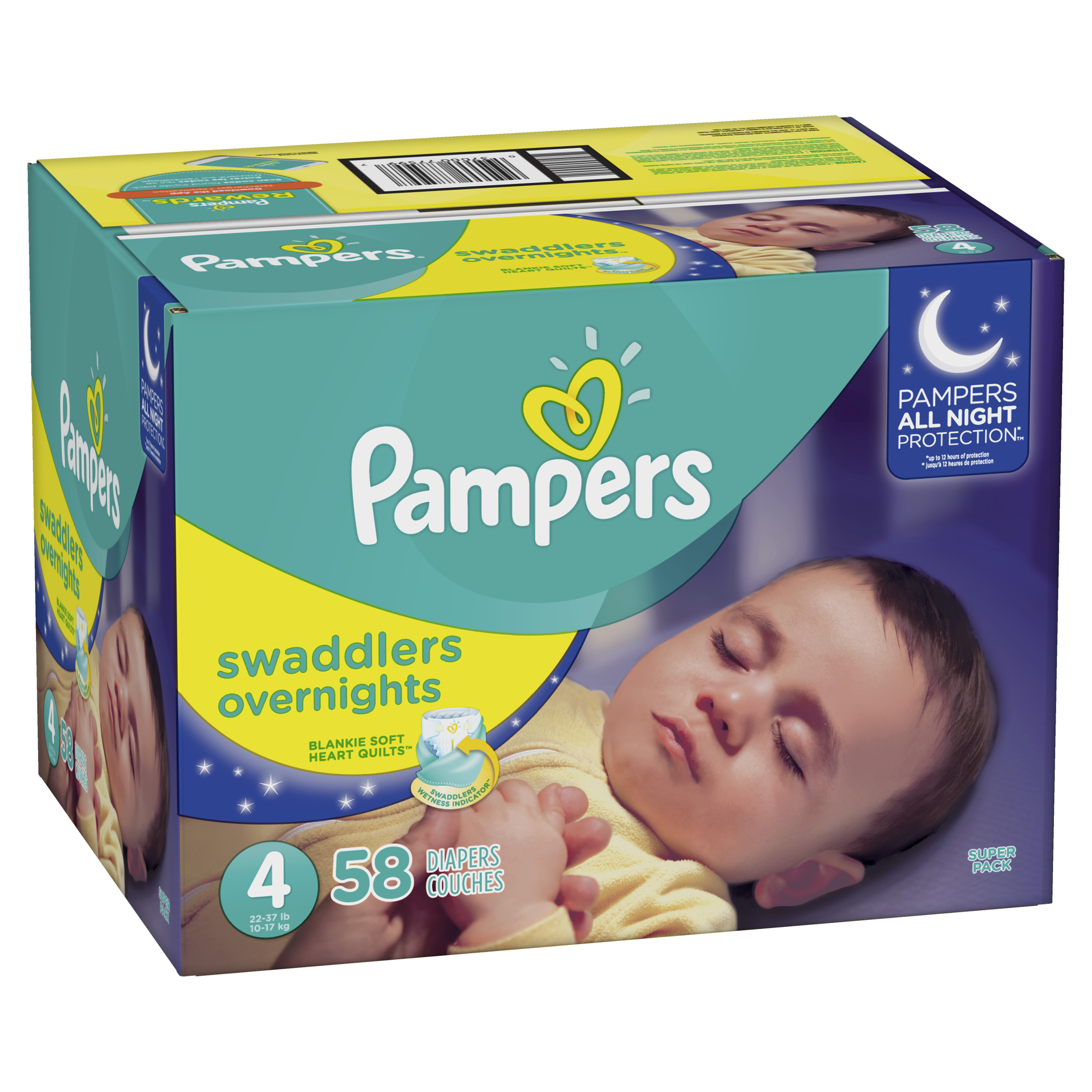 Pampers Swaddlers Overnights Diapers Size 4 58 Count
