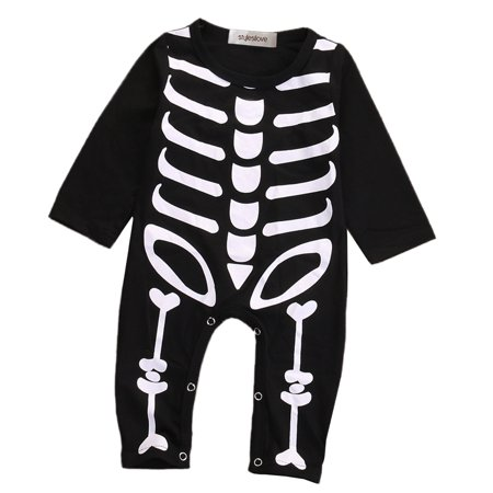 StylesILove Unisex Baby Chic Skeleton Long Sleeve Romper Halloween Costume (95/18-24 Months) (Baby Twin Halloween Costumes)