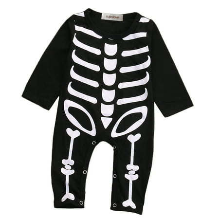 StylesILove Unisex Baby Chic Skeleton Long Sleeve Romper Halloween Costume (95/18-24 Months)](Baby Makeup For Halloween Costume)