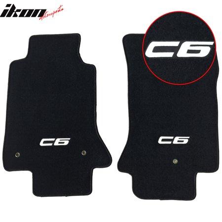Fits 05-13 Chevy Corvette C6 Logo OE Fitment Floor Mats Carpet Nylon Black 2PC