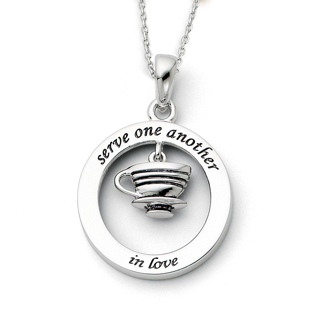 Silver Antiqued Serve One Another 18in Necklace