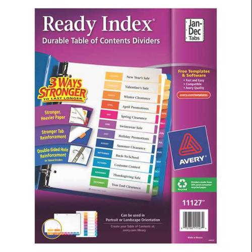 Jan-Dec Tab Index Divider, White ,Avery, 11127