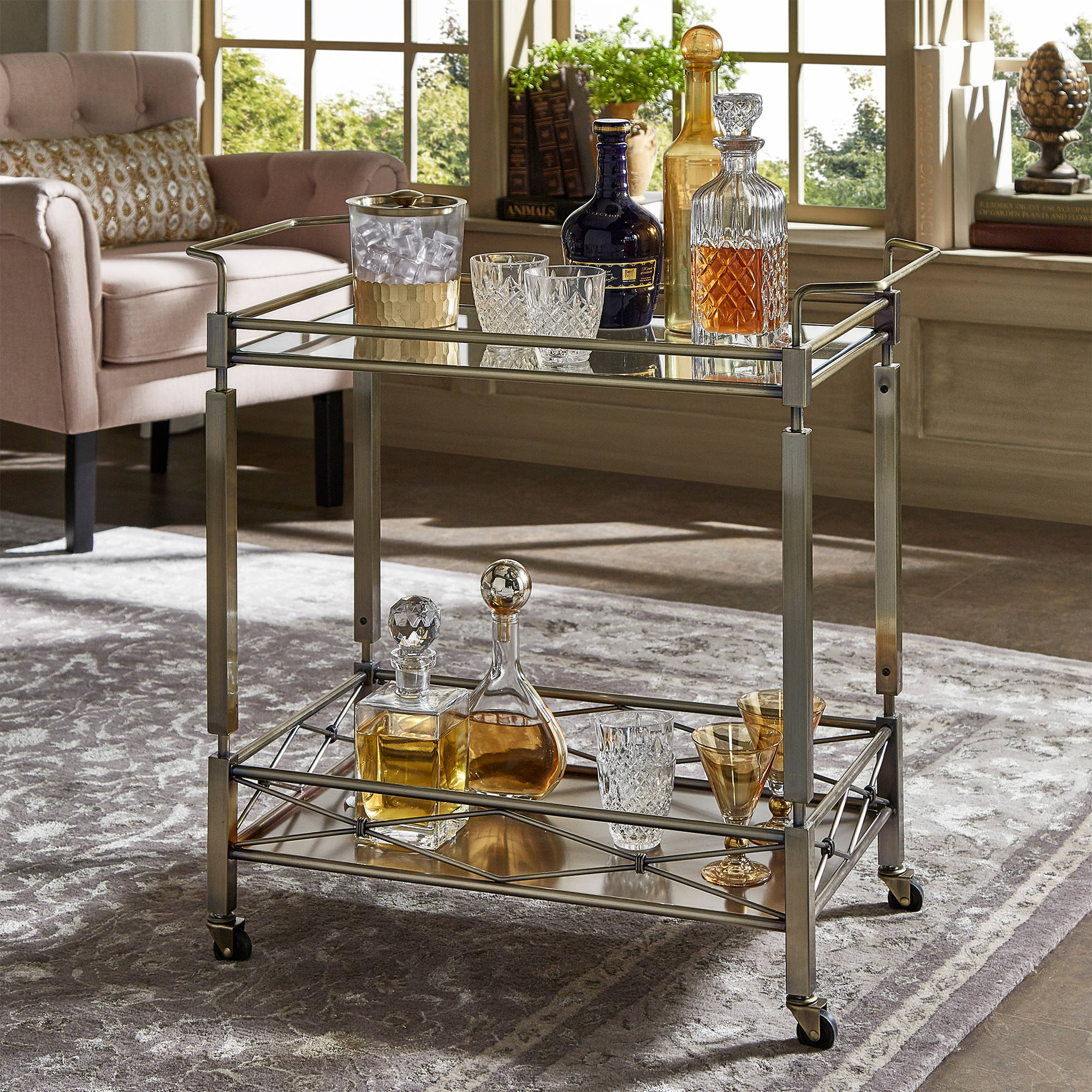 Chelsea Lane Antique Brass Clear Tempered Glass Metal Kitchen Cart