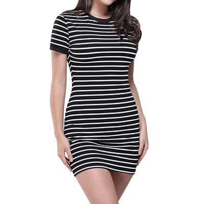 Yves Women's Striped Short Sleeve Skirt Slim Striped Tight Skirt