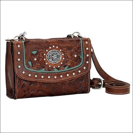 American West Leather Handbag (BT982 AMERICAN WEST ANTIQUE BROWN LEATHER LADIES SMALL HANDBAG WALLET COMBO)