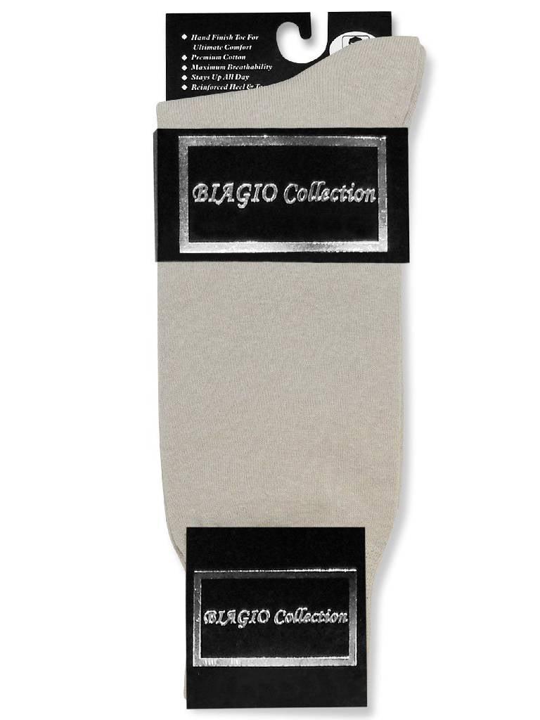 1 Pair of Biagio Solid SILVER GREY Color Men's COTTON Dress SOCKS