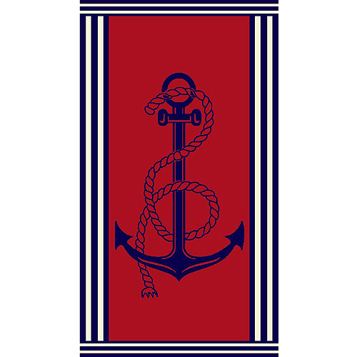 Northpoint Home Beach Towel, Land Ho Anchor, Navy/Red
