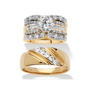 Round Cubic Zirconia 4-Piece His and Hers Wedding Ring Set 6.12 TCW in 18k Gold Over Sterling Silver