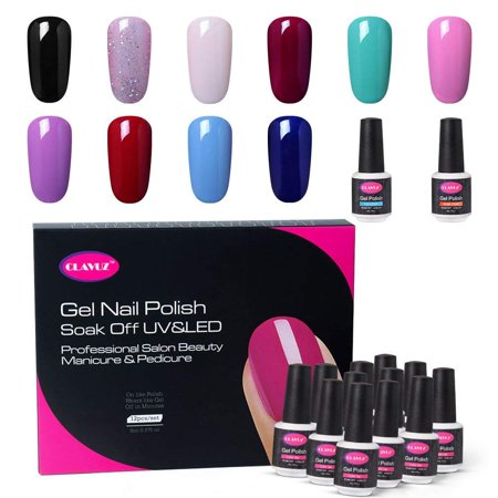 Nail Art Starter - CLAVUZ Gel Nail Polish Set C002,12PCS Soak Off UV Gel Nail Lacquer with Top and Base Coat Nail Art New Starter Kit 8ML Long Lasting Varnish Comes Packed in Exquisite Gift Box