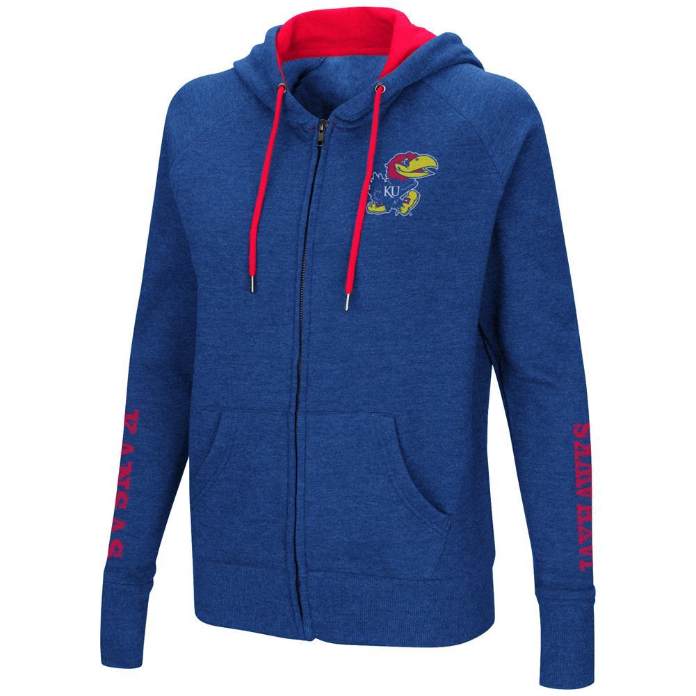Kansas Jayhawks KU Women's Full Zip Hoodie Sweatshirt