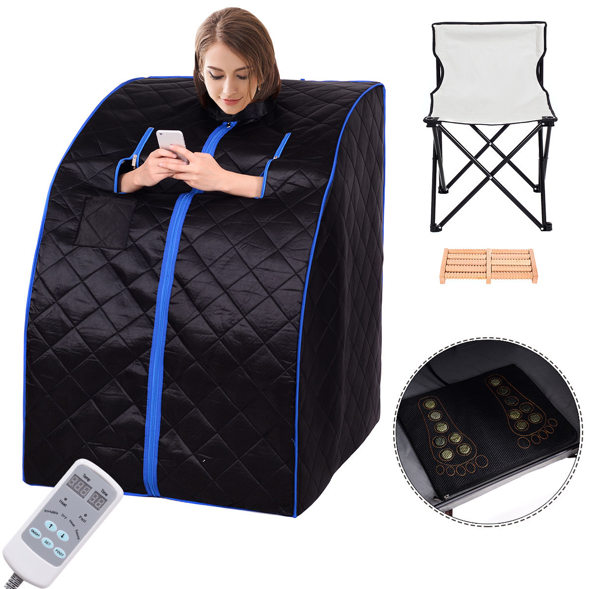 Costway Portable Far Infrared Sauna Spa Full Body Slimming Loss Weight Detox Therapy by Costway