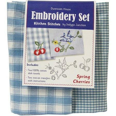 - Spring Cherries Kitchen Stitches Embroidery Set-Blue & White Check