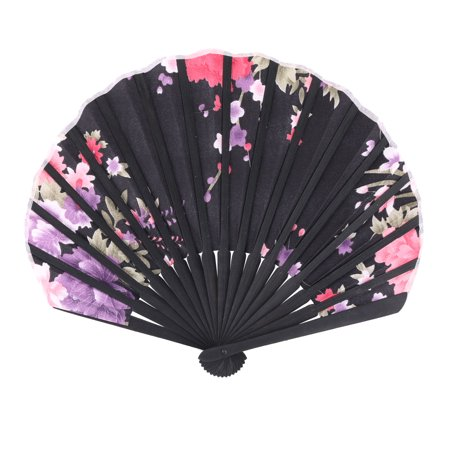 Dancing Flower Print Chinese Style Foldable Hand Fan Display Multicolor 2 in 1 - image 1 of 4