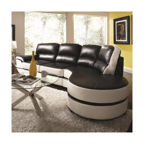 Coaster 503630 Reese Contemporary One Arm Sectional Sofa With Round Chaise  Loveseat And Ultra Plush
