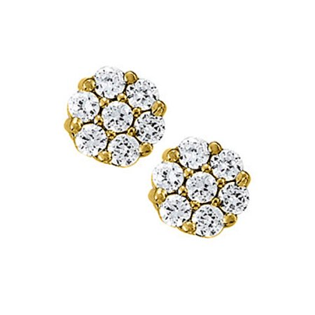 April Birthstone Cubic Zirconia 7 Stone Cluster Earrings in 14K Yellow Gold - image 1 de 2