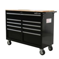 Frontier 46 in. 9-Drawer Mobile Workbench, tool chest, tool cabinet with wooden work surface in black