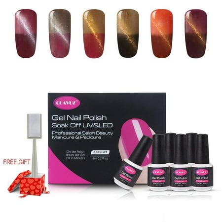 CLAVUZ 6pcs Color Changing Magnetic Gel Nail Polish Set Elegant Manicure Nail Art Lacquers New Start Gift Kits 8ml+Free Magnet Sticks Long Lasting Varnish C003