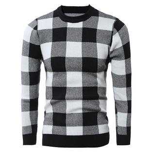 Men Slim Long Sleeve Plaid Sweater
