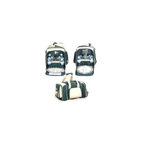 Sutherland Baskets SPB3064B1 Tahoe Picnic Backpack for 4 - Green-Beige