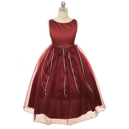 Kids Dream Little Girls Burgundy Rosebud Organza Flower Girl Dress 2 - Flower Girl Dresses Organza