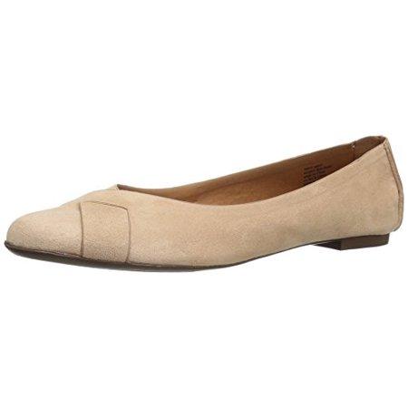 BC Footwear Women's Petite V-Suede Ballet Flat, Nude, 8 M US