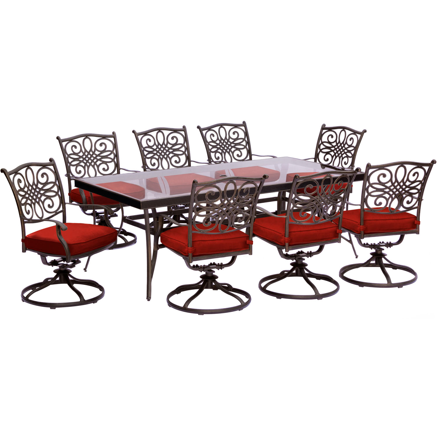 Hanover Traditions 9-Piece Outdoor Dining Set with Glass-Top Table and 8 Swivel Rockers