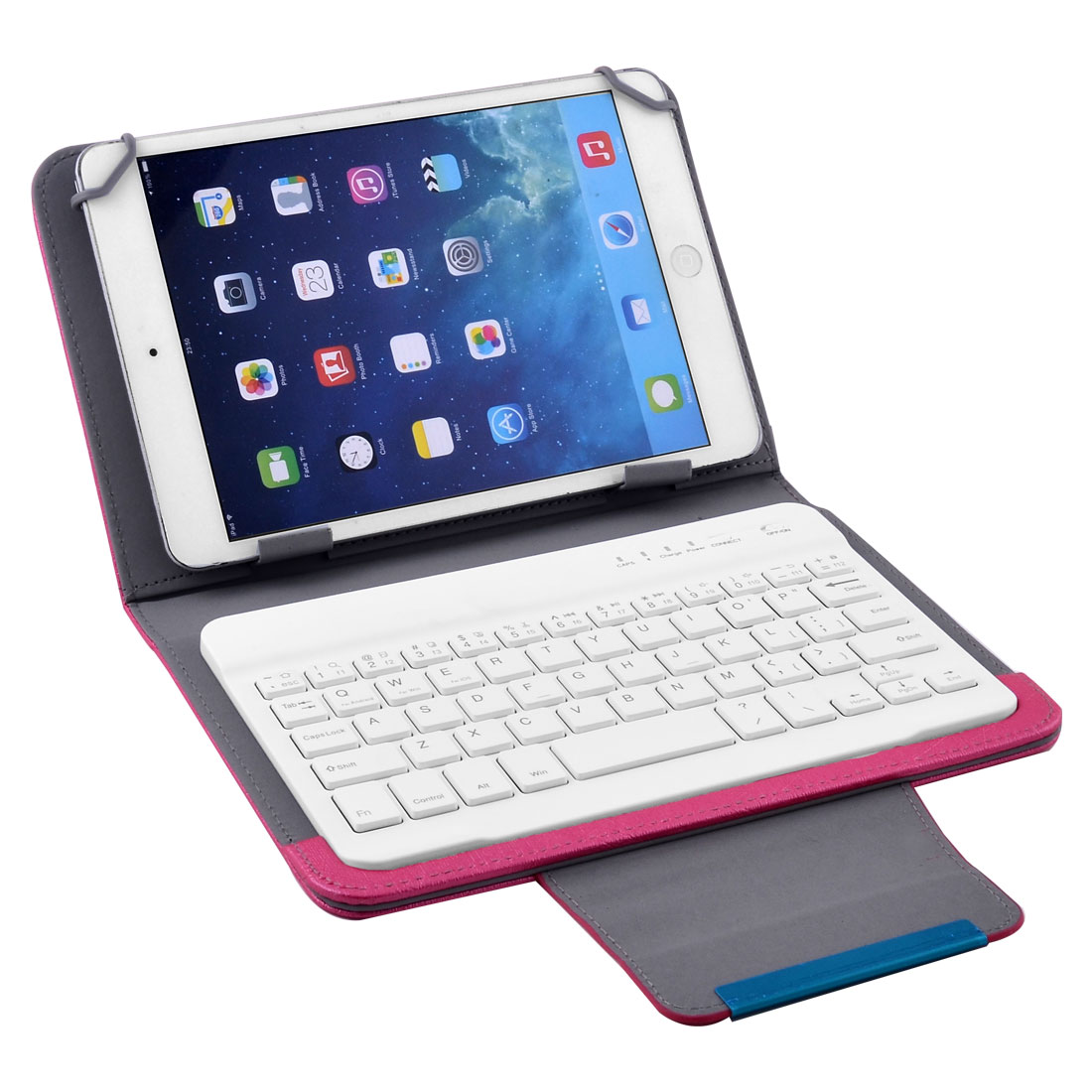 Unique Bargains bluetooth Wireless Keyboard Leather Cover Fuchsia for 7 Inch 8 Inch Tablet