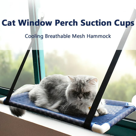 Image of Cat Window Perch Hammock Bed Cooling Breathable Mesh Deck Window Suction Cups Seat Summer Hammock for Cats Kittens