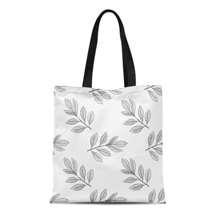 SIDONKU Canvas Tote Bag Botanical Leaf Botany Doodle Draw Drawing Fall Graphic Ink Durable Reusable Shopping Shoulder Grocery - Draw Leaf