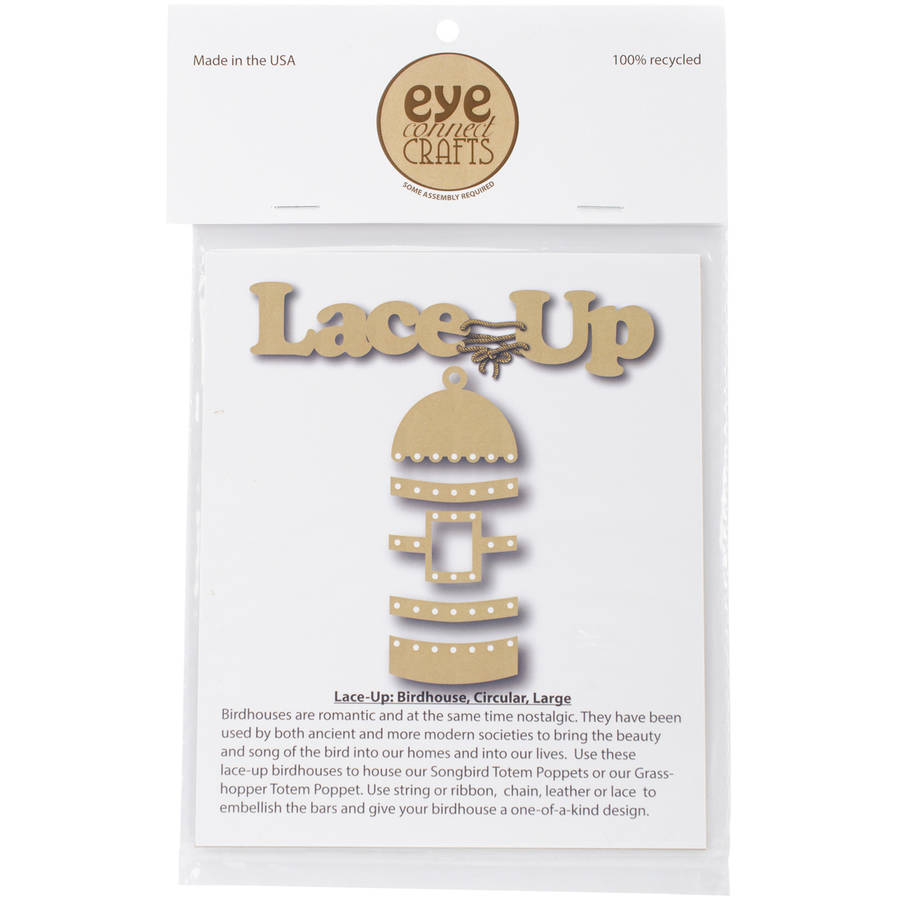 """EyeConnect Chipboard Lace-Up, Birdhouse, 4"""" x 10.5"""""""