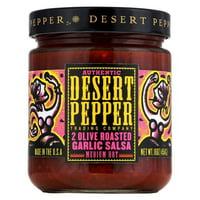 Desert Pepper Trading Medium Hot Two Olive Roasted Garlic Salsa - pack of 6 - 16 Oz.