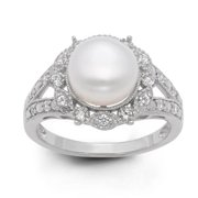 Gioelli Sterling Silver Freshwater Pearl and Created White Sapphire Ring (9.5 mm) Size 11