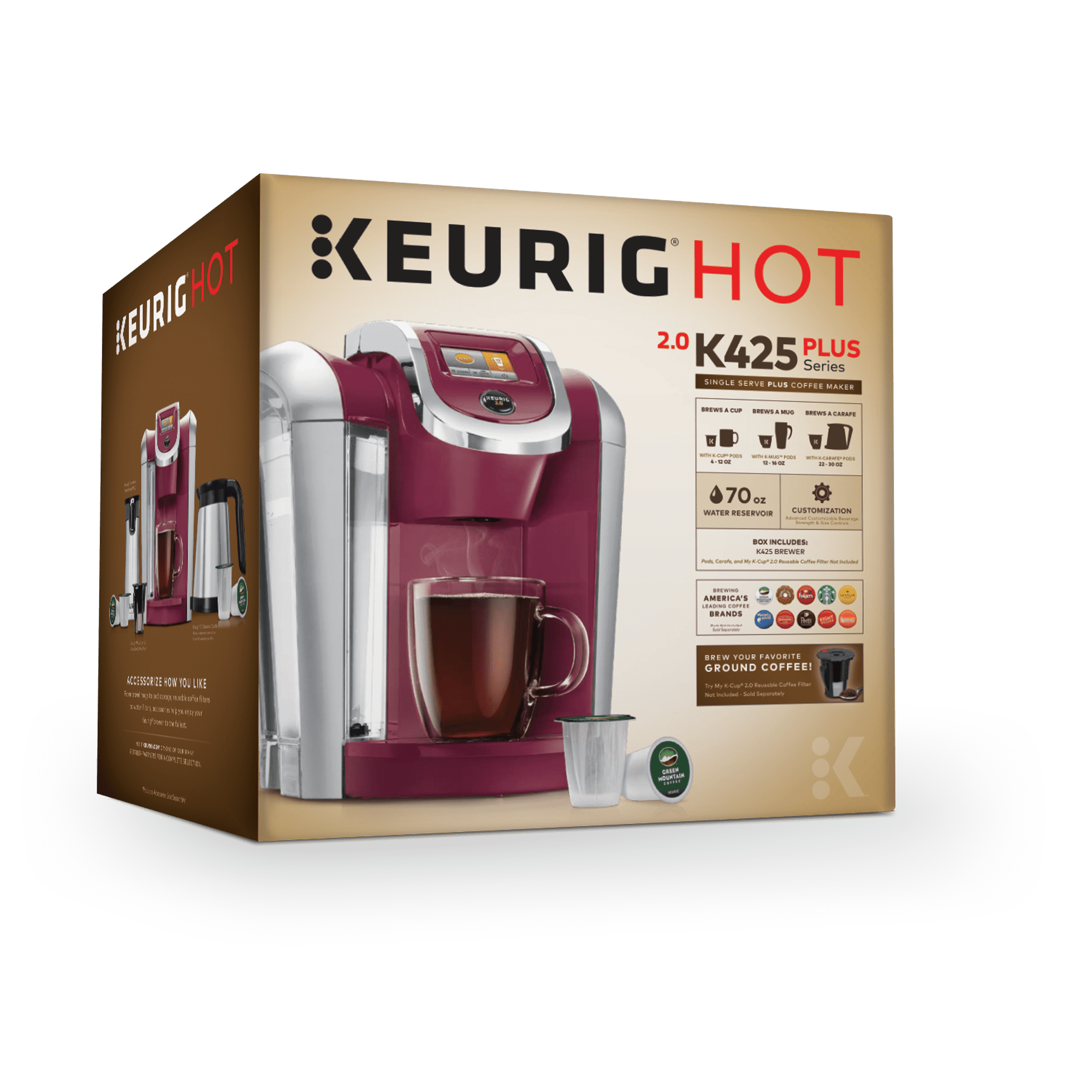 Keurig K425 Single Serve K Cup Pod Coffee Maker With 12oz Brew Size Strength Control And Temperature Programmable Black