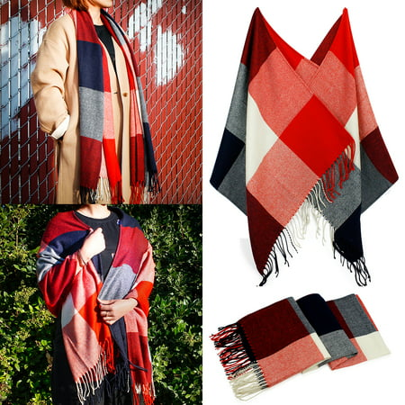 Womens Lightweight Plaid Scarves (Fashion Women's Scarf Lightweight Long Plaid Tartan Scarfs Lady Pashmina Winder Wraps Shawl Stole Soft Warm Scarves For Women)