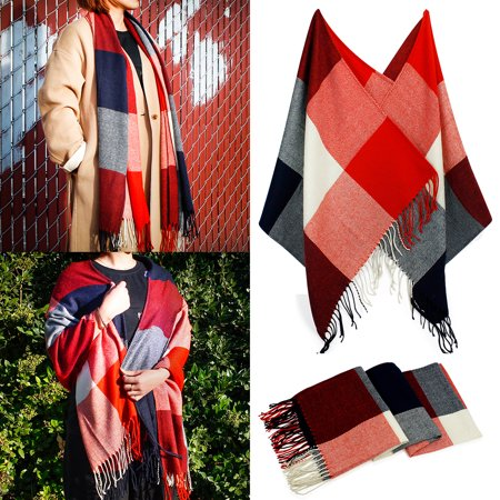 Fashion Women's Scarf Lightweight Long Plaid Tartan Scarfs Lady Pashmina Winder Wraps Shawl Stole Soft Warm Scarves For Women