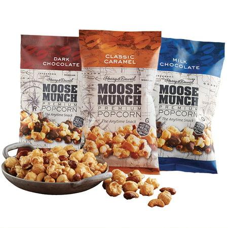 - Moose Munch Premium Popcorn Tin Trio by Harry & David, Classic Caramel, Milk Chocolate, Dark Chocolate (3-Pack)