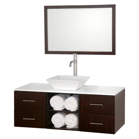 Wyndham Collection Abba 48 inch Single Bathroom Vanity in Espresso, White Man-Made Stone Countertop, Pyra White Porcelain Sink, and 36 inch Mirror