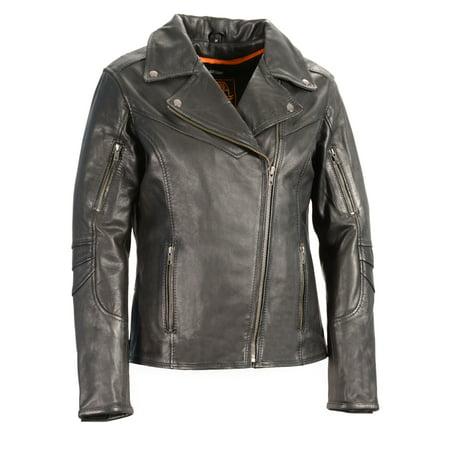 Shaf - Women's Lightweight Long Length Beltless Vented Biker Jacket - Black - Size -