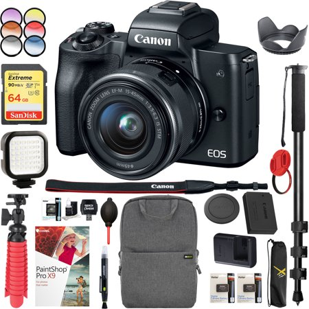 Canon EOS M50 Mirrorless Camera with 4K Video and EF-M 15-45mm Lens Kit (Black) Bundle with Backpack Monopod SanDisk 64GB SDXC Memory Card and Battery