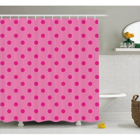 Hot Pink Shower Curtain, Classical Simplistic Pattern Design with Small Pink Dots Spots Girlish Style, Fabric Bathroom Set with Hooks, 69W X 70L Inches, Pink Hot Pink, by Ambesonne
