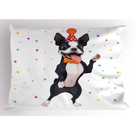 - Boston Terrier Pillow Sham Party Puppy Figure Celebrating His Birthday on Colorful Stary Background, Decorative Standard Size Printed Pillowcase, 26 X 20 Inches, Multicolor, by Ambesonne