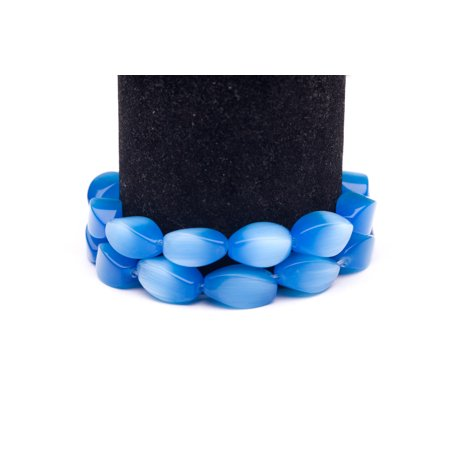 Sky Blue Cat's Eye Beads Twisted Oval Fiber Optic Glass Beads