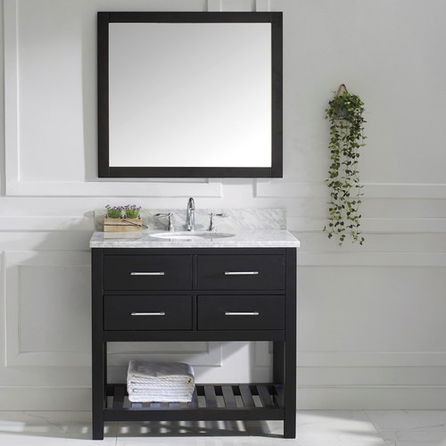 Virtu USA Caroline Estate 37'' Single Bathroom Vanity Set with White Marble Top and Mirror