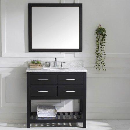 Virtu Usa Caroline Estate 37 Single Bathroom Vanity Set With White Marble Top And