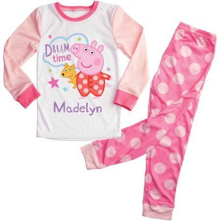 Personalized Dream Time Peppa Pig Toddler Girls Pajamas Set - 2T, 3T, 4T, (Kate Spade Dream A Little Dream Pajamas)