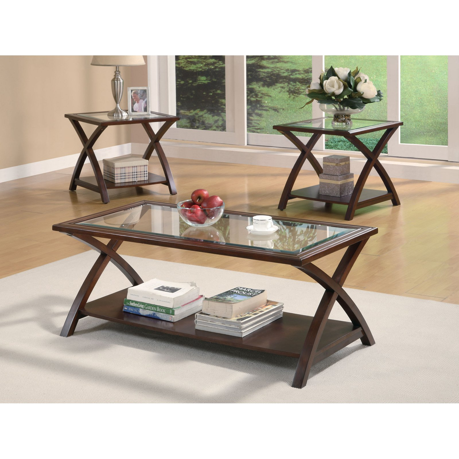 Coaster 3-Piece Table Set, Warm Light Bourbon Finish