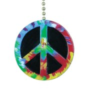 Peace Sign Symbol Ceiling Fan Pull Tie Dye Design