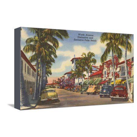 Worth Avenue, Palm Beach, Florida Stretched Canvas Print Wall (Palm Beach Florida Worth Avenue)