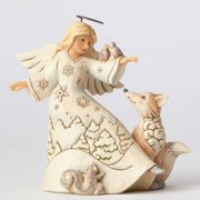 Jim Shore Heartwook Creek 4053693 White Woodlnd Angel with Birds 2016