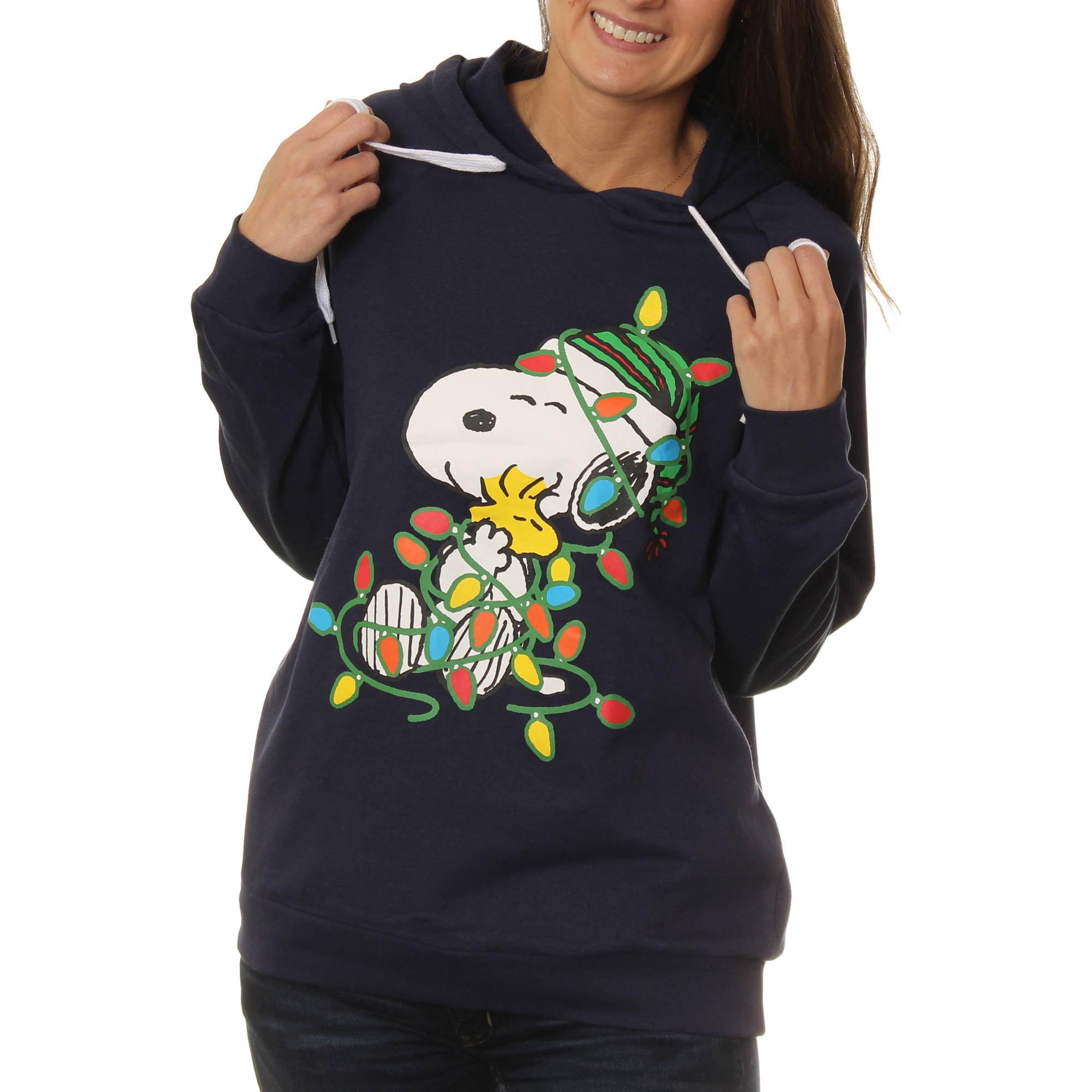 Peanuts Women's Snoopy and Woodstock Christmas Fleece Hoodie